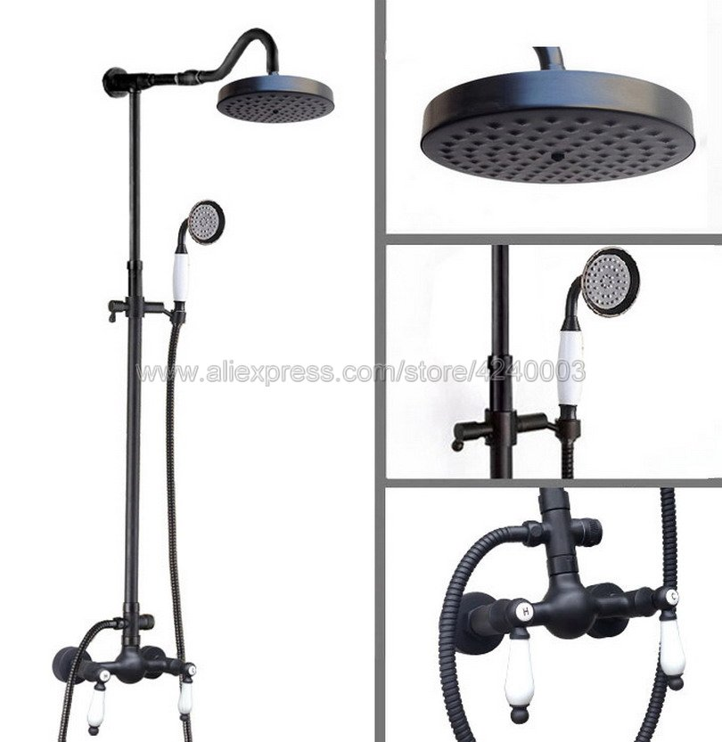 Black Oil Rubbed Bronze 8 Rainfall Shower Head Shower Set Faucet with Hand Shower Spray Mixer Tap Wall Mounted Krs777