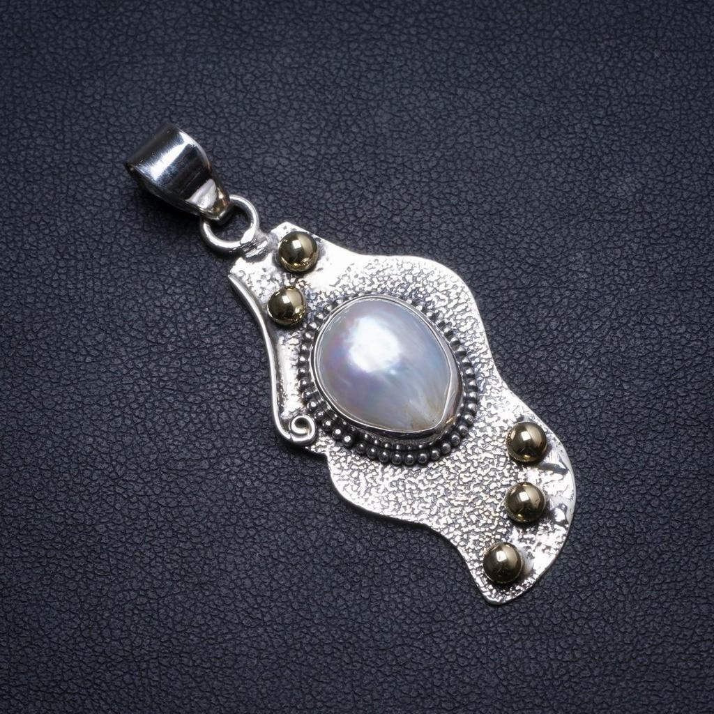 Pendentif en argent Sterling 925 fait main Biwa perle naturelle 2 X1269Pendentif en argent Sterling 925 fait main Biwa perle naturelle 2 X1269