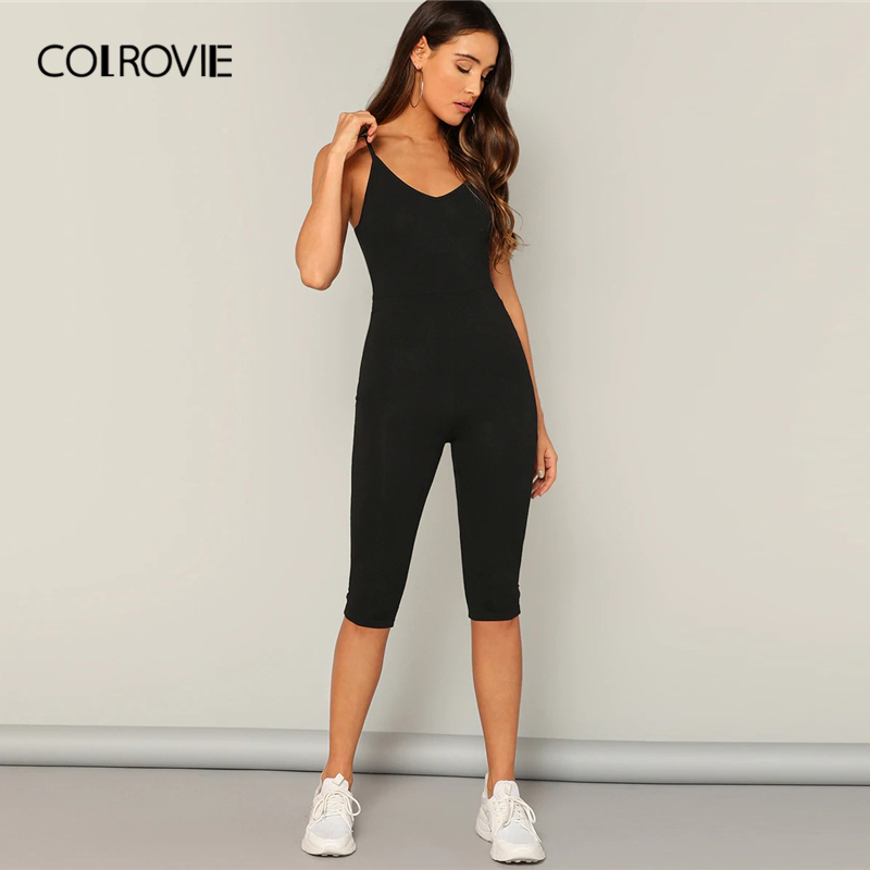 COLROVIE Black Solid Skinny Cami Jumpsuit Women 2019 Spring Summer Fashion Spaghetti Strap Sleeveless Ladies Sexy Jumpsuits