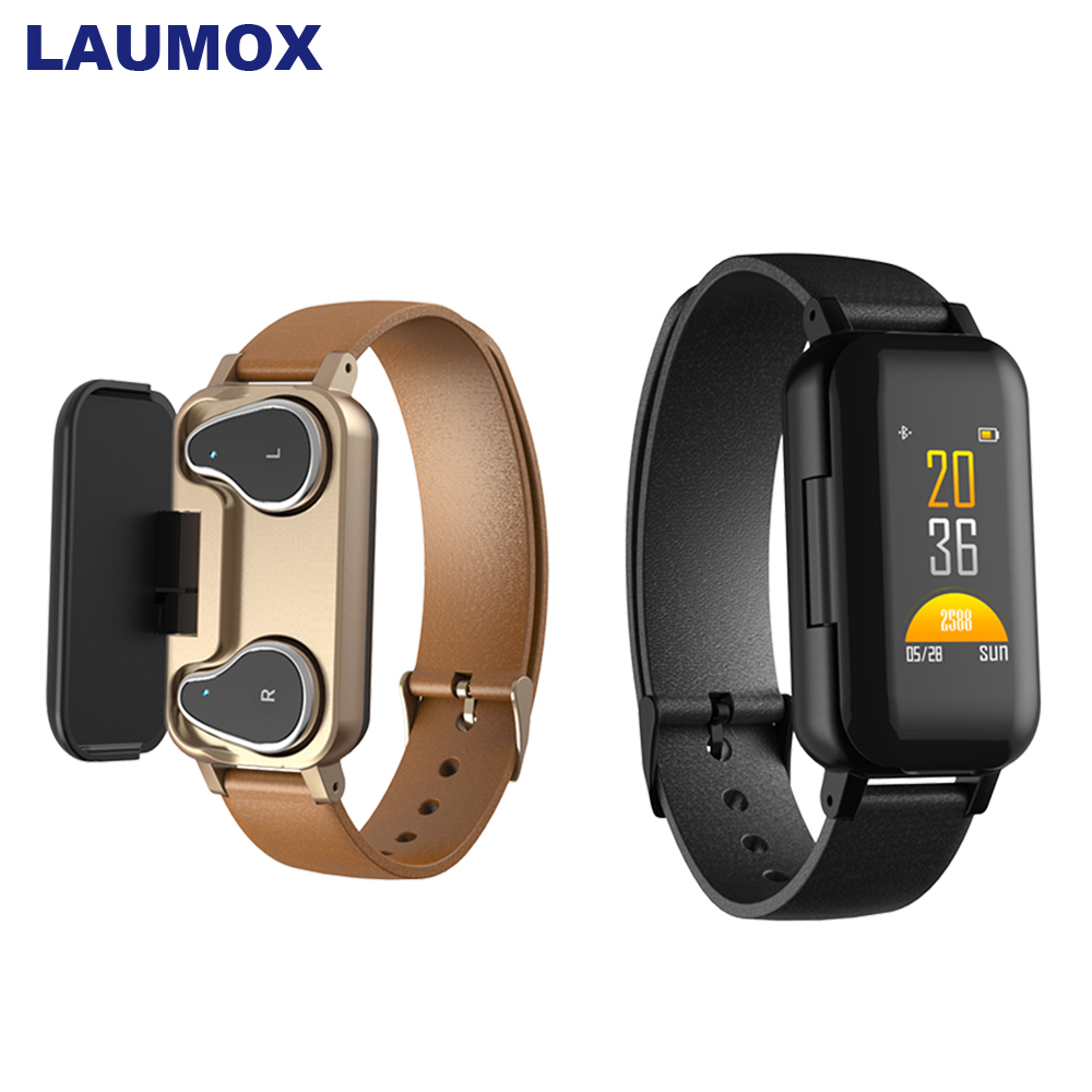 LAUMOX <font><b>T89</b></font> <font><b>TWS</b></font> Wireless Bluetooth Earphones 5.0 Fitness Bracelet Heart Rate Monitor Sport Watch Headphone For IOS Android Phone image