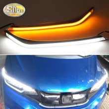 For Honda Jazz Fit 2015-2018 , Car Styling LED Headlight Brow Eyebrow Daytime Running Light DRL With Yellow Turn signal Light osmrk led drl daytime running light for honda crv 2015 2016 wireless switch yellow turn signals dimmer function