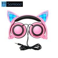 Samload Earphones Headphones Girl Students LED Light Headband Earpones Christmas Gift Foldable Cute Cat Ear Headset