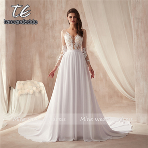 Image 1 - V neck Sheer Bodice Lace Applique Beach Chiffon Wedding Dresses Long Sleeves Open Back White Bridal Dress Vestido De Noiva