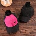 Nuevos Pompones Algodón Cabritos de Los Sombreros Gorras de Béisbol de Los Muchachos Gorras Otoño Invierno Sombreros Gorras Muchachas Del Bebé Gorras de Béisbol Sombrero de Los Niños gorras