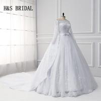 Lange mouwen Trouwjurken Afneembare trein vestido de noiva Bruids Bruidsjurk robe de mariee H & S BRIDAL