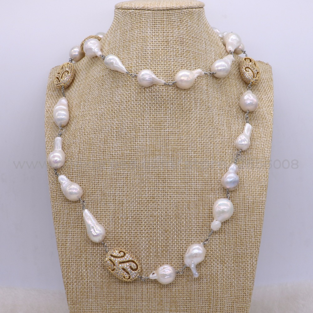 New design Baroque pearl long necklace handcrafted metal chain long necklace jewelry gems fashion gift for lady 2646