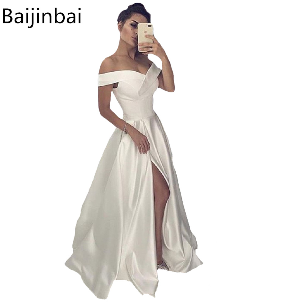Baijinbai Sexy White Long   Evening     Dresses   with High Slit A-line Off the Shoulder Special Occasion Formal Prom Gowns Lace Up Back