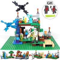 378pcs Minecrafted Figures Building Blocks With Classic Base Plate Compatible Legoed City Bricks Set Enlighten Toys