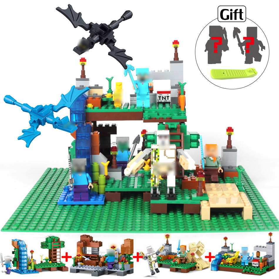 378pcs Minecrafted figures Building Blocks with Classic Base plate Compatible Legoed City bricks set Enlighten toys for children new lepin 16009 1151pcs queen anne s revenge pirates of the caribbean building blocks set compatible legoed with 4195 children
