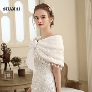 Image 2 - SHAMAI Women Faux Fur Winter Autumn Warm Bridal  Lace Wedding Wrap Stole Bolero Scarf Wedding party Cape