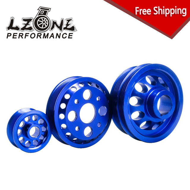 LZONE RACING - FREE SHIPPING LIGHT-WEIGHT CRANK PULLEY FOR NISSAN SKYLINE Z33 350Z Fairlady 350GT V35 02-06 BLUE JR6877B  free shipping light weight crank pulley new for nissan skyline gtr bnr32 rb26 dett rb20 rb25 underdrive crank pulley yc100829