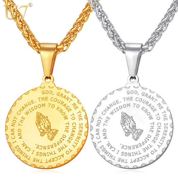 U7 Bible Verse Coin Medal Brand Praying Hands Pendants Necklaces for Men  Gold color Stainless Steel