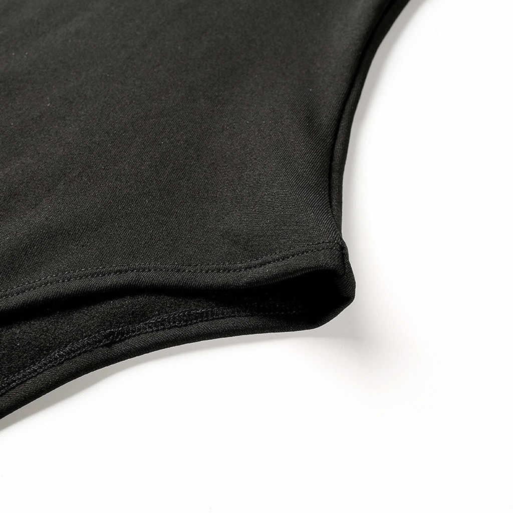 النساء بذلة الخريف الشتاء كم طويل الياقة المدورة الأسود السيدات الرياضية عارضة مثير ارتداءها النساء السروال القصير Combinaison فام