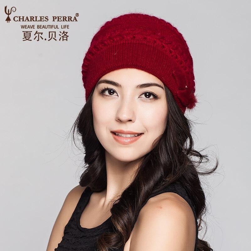 Charles Perra Kvinnor Stickade Kepsar Winter Thicken Double Klaver - Kläder tillbehör - Foto 2