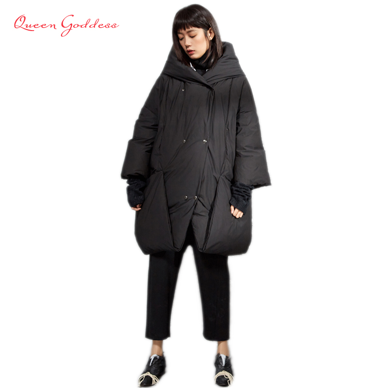 2019 Winter Causal Style Double Breasted Short Type Warm Parkas With Hat Winter Womens Black And White Jacket Long Down Coats