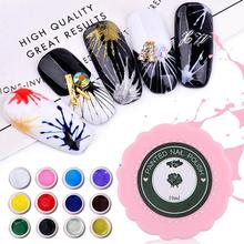 Nail Art 3D Painted Glue Solid Color Polish Painting Practice Mini Pink Bottle Japanese Style 12 Colors