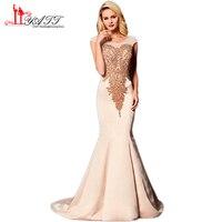 Liyatt 2018 New Design Formal Mermaid Evening Dresses Elegant Sheer Neck Crystal Beaded Satin Long Prom
