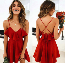 2019 Summer Dress Ladies Sexy Womens Dress Backless Cross Drawstring Ruffles Waist Set V-Neck Belt Dress Red Vintage ornate print drawstring waist dress