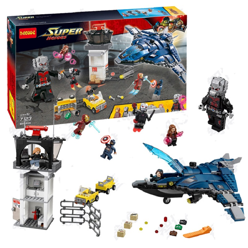Decool 7123 Marvels Captain America 3 Civil War Giant Ant Man airport for Avengers bricks blocks fit for lego movie 76051 LPS
