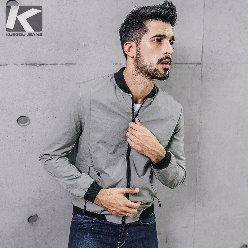 KUEGOU New Autumn Mens Casual Jackets And Coats Patchwork Gray Color Brand Clothing For Man's Slim Clothes Male Wear Tops 0710