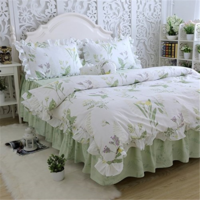 FADFAY Home Textile 100% Cotton Korean Green Country Style Bed Bedding Set  Soft Comforter Sets