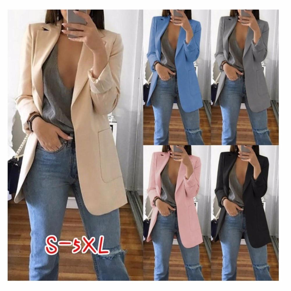 Wipalo Plus Size 2019 Women Elegant Slim Casual Solid Business Blazer Bodycon Long Blazers Jacket Ladies Spring Autumn Suit