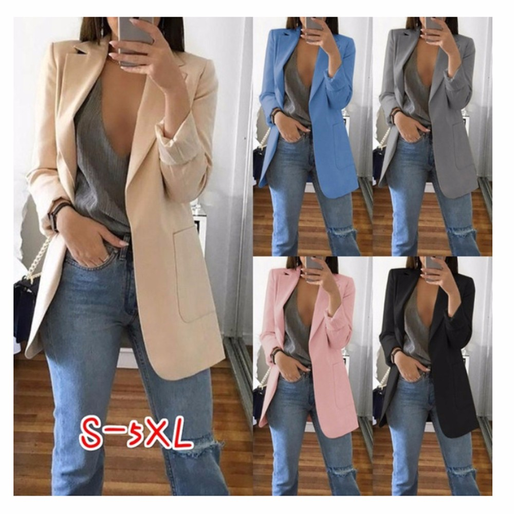 Wipalo Women S-5XL Slim Casual Solid Long Blazer With Pocket Work Office Lady Spring Autumn Suit Long Sleeve Notched Blazer Coat