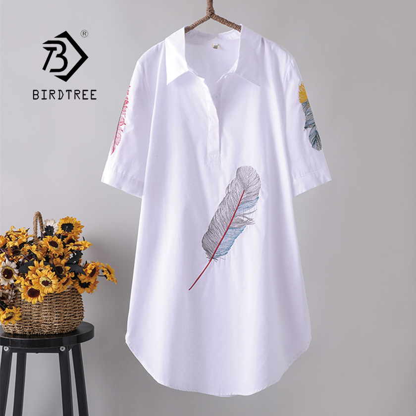 New Arrival Women Feather Embroidery Long Cotton White Blouse Summer Short Sleeve White Female Shirt Turn-Down Collar Top T96401