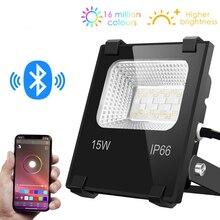 Reflector de luz LED inteligente para exteriores, RGB, 15W, Bluetooth 4,0, Control por grupo de aplicación 360, IP66, para jardín, resistente al agua, cambia de Color