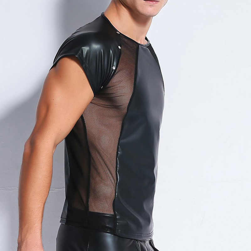 b8b313f3134 ... Sexy Lingerie PU Leather Mesh T Shirts Male Mesh Patchwork Undershirts  Men Tees Tight Shirts Male ...