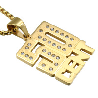 Hip Hop Iced Out Gold Plated Stainless Steel 50 Cent Half Dollars Pendant Necklaces For Men