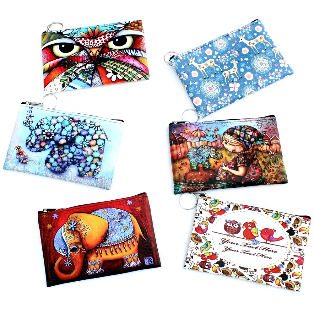 Owl Elephant giraffes Print coin purse, Ladies clutch change purse, Women cartoon zero wallet, Female Zipper coins bag wallet pouch