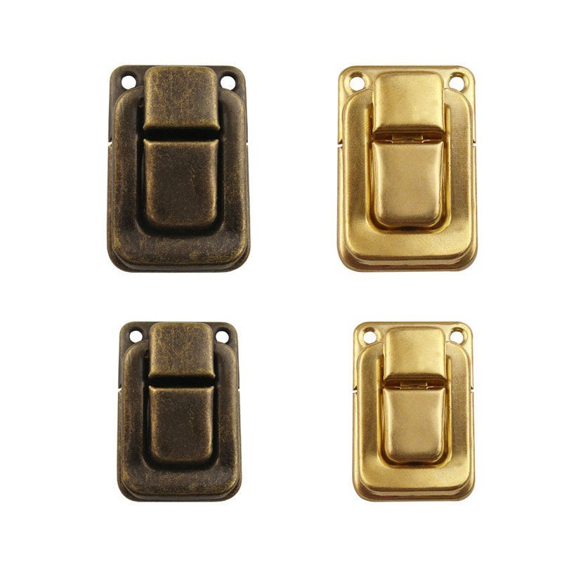 10pcs Antique jewelry box latch hasp 25*37MM gold Wooden Wine Gift Box Handbag Buckle Clip Decorative Clasp Hardware Accessory