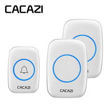 CACAZI AC 110-220V wireless doorbell that waterproof 300M range door bell low price high quality home 38 chimes door ring 1 transmitter 2 receiver high quality home doorbell waterproof 280m work range mini wireless door bell 48 ring tunes for choose