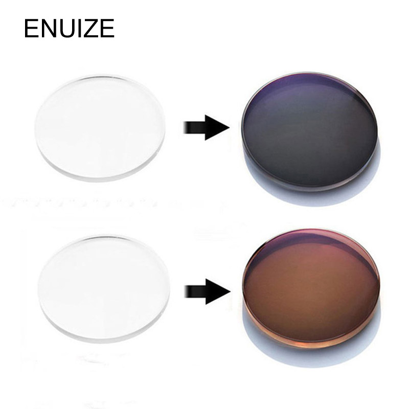 Custom 1.56 Photochromic Invisible Blended Top Bifocal Unisex Myopia Sunglasses Lenses Grey/Brown Color 1 Pair(2 Pieces)