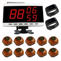 SINGCALL queue management system customer service 1 digital receiver 2 watch pagers 10 wood call bells