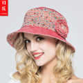 Lady New Flower Travel Suns Hat Fashion Casual Summer Print Sun Visor Cap UV Sunscreen  Summer Beach Sun Hats B-3707