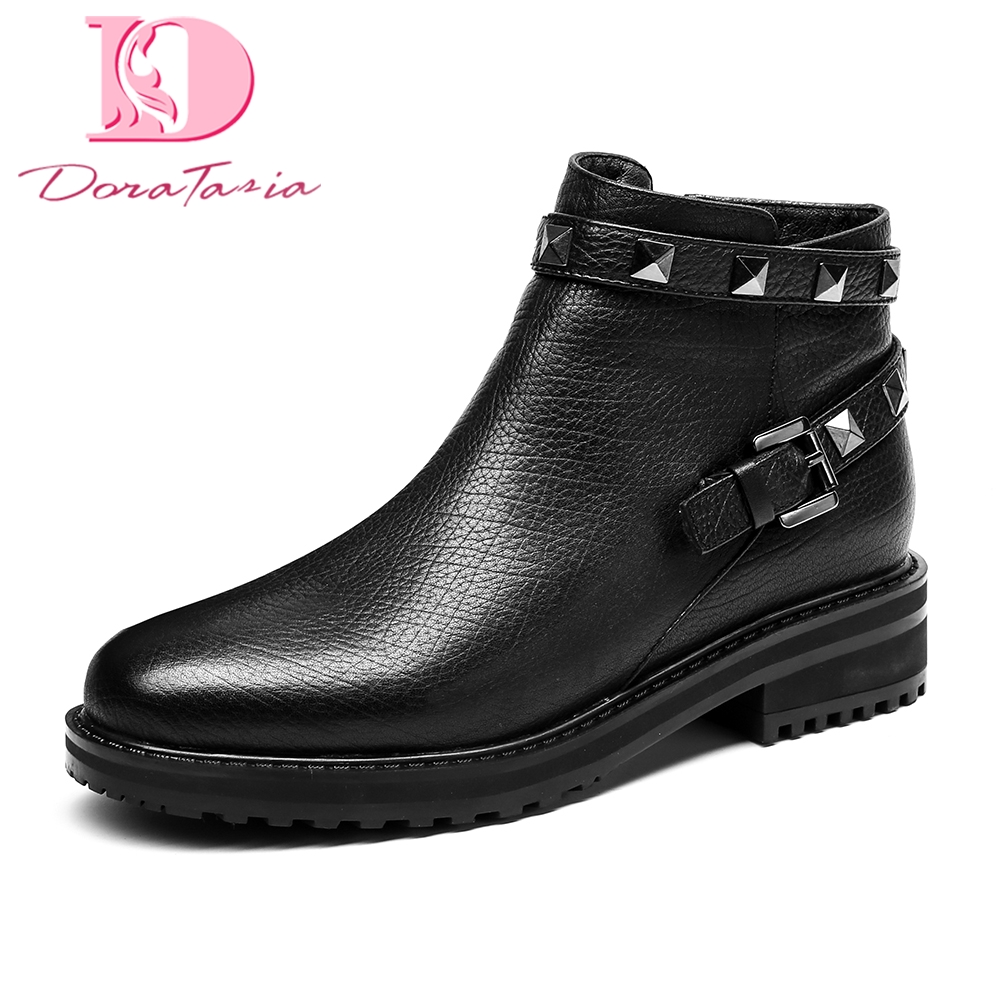 Doratasia Genuine Leather Chunky Heels Cow Leather Ankle Boots Woman Shoes Zip Up Rivet Party Shoes Woman Boots Size 35-40Doratasia Genuine Leather Chunky Heels Cow Leather Ankle Boots Woman Shoes Zip Up Rivet Party Shoes Woman Boots Size 35-40