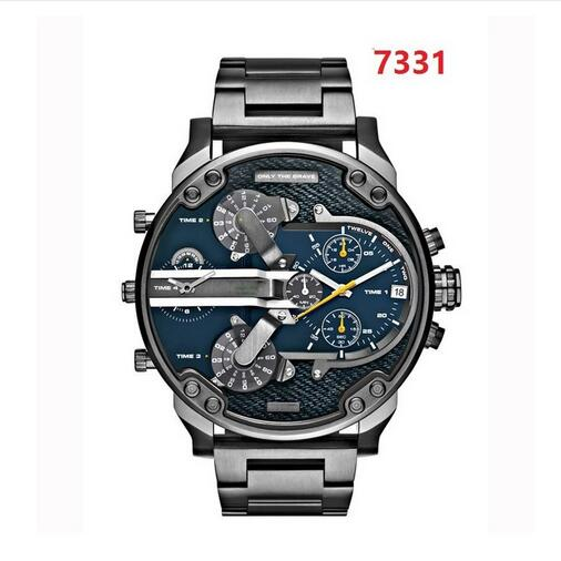 Brand Luxury Big Leather Watch Men  Dual Time Display Quartz Wrist Watch With Stainless Steel Band Quartz Wristwatches