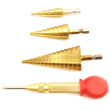 цена на 3Pcs HSS hex shank titanium coating power tool carbide drill bit micro drill bit  drill pagoda bit suit step drill4-12/4-20/4-32