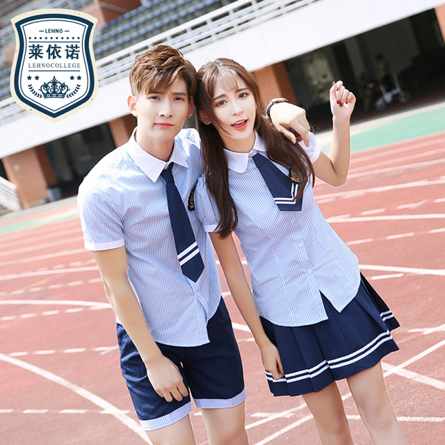 ef656458d Marca LEHNO Escuela Secundaria verano escolar uniformes azules niñas  uniformes traje de manga corta estudiantes ropa