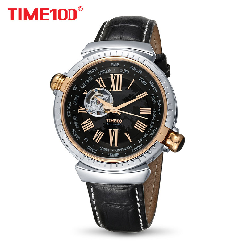 TIME100 Automatic Watch Men Skeleton Mechanical Watches Dual Time Zone Genuine Leather Strap Tourbillon Style Watch reloj hombre fashion skeleton tourbillon mechanical watch men automatic classic gold leather mechanical business wrist watches reloj hombre