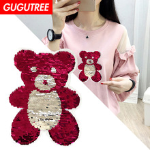 GUGUTREE embroidery big bear patches animal cartoon badges applique for clothing XC-80