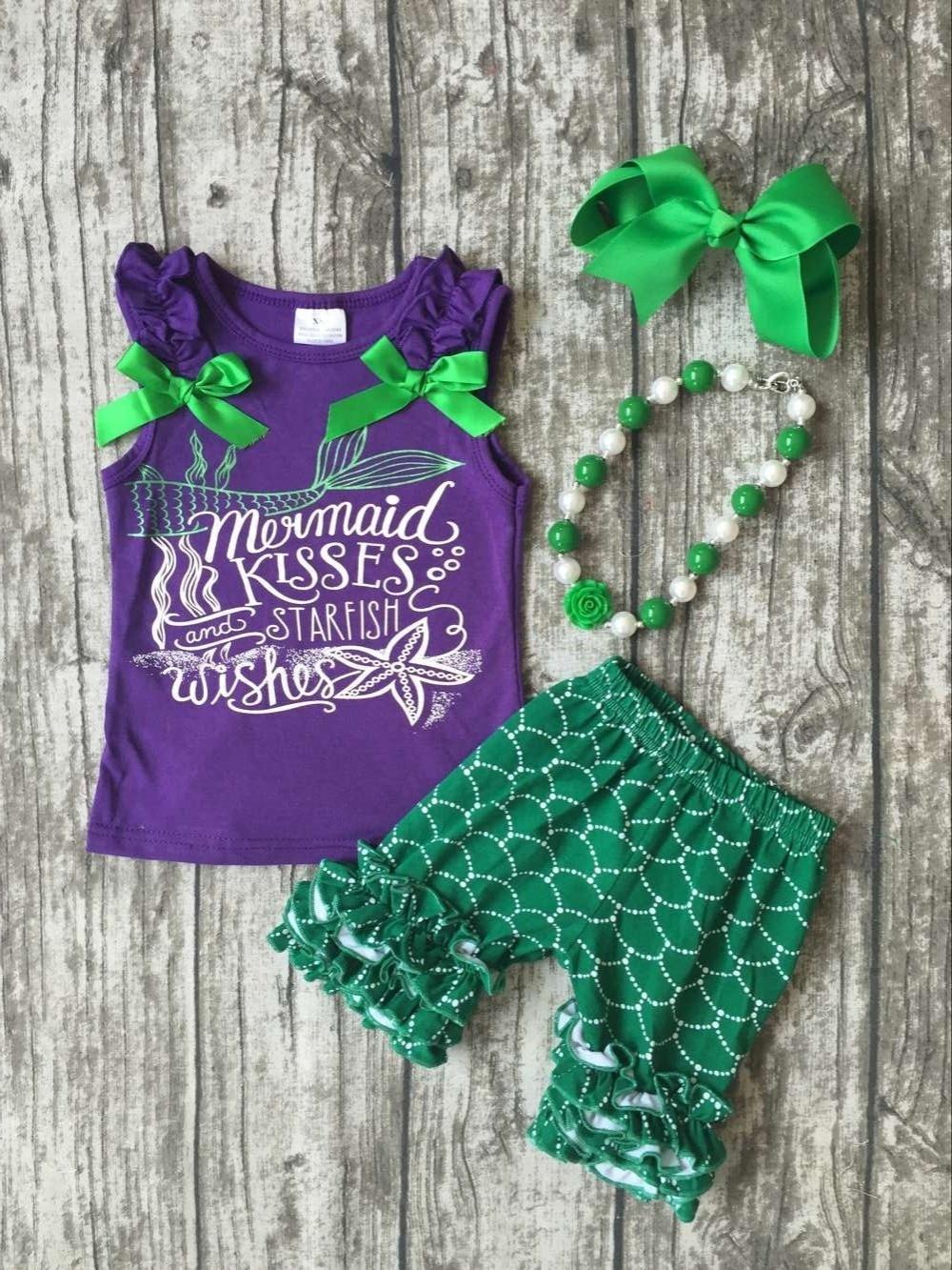 Baby Girls Summer Clothes Mermaid Kisses Starfish Wishes Outfits Baby Girls Mermaid Summer