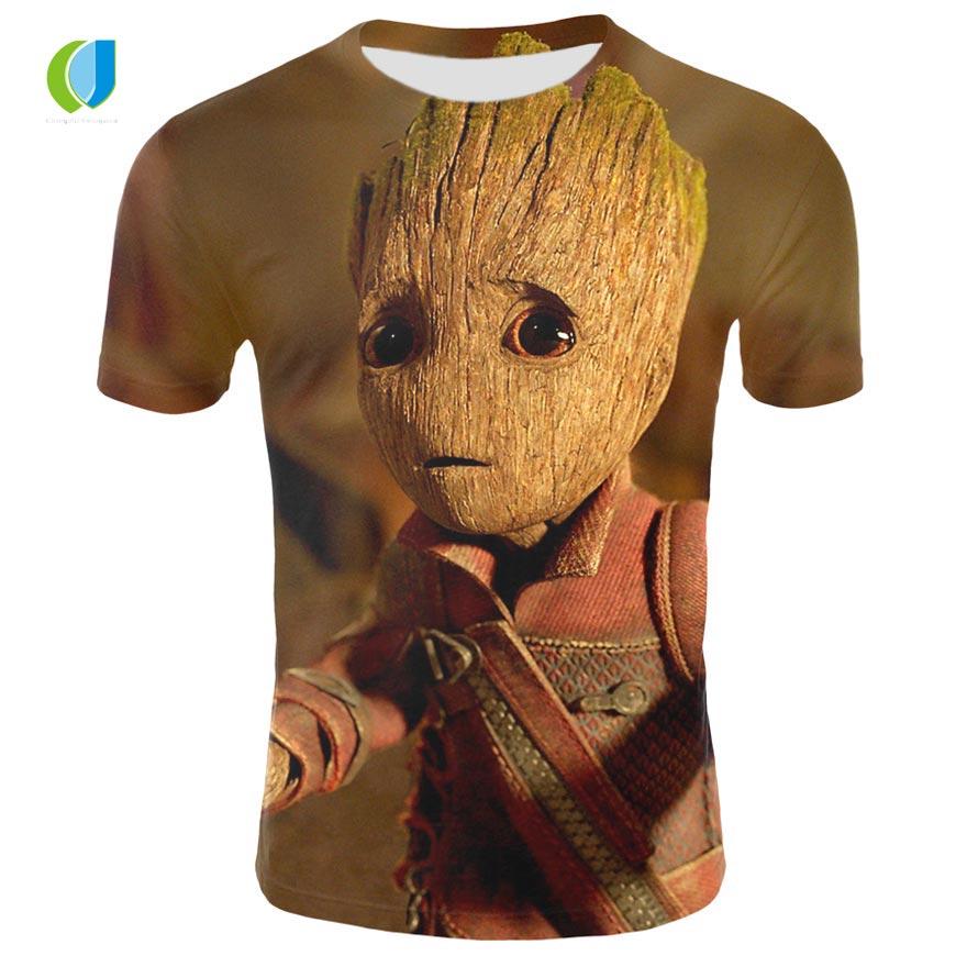 Superhero Groot filme Guarda Galáxia T-shirt do verão dos homens novos 3D quick-secagem de impressão homens e mulheres casuais rodada t-shirt do pescoço