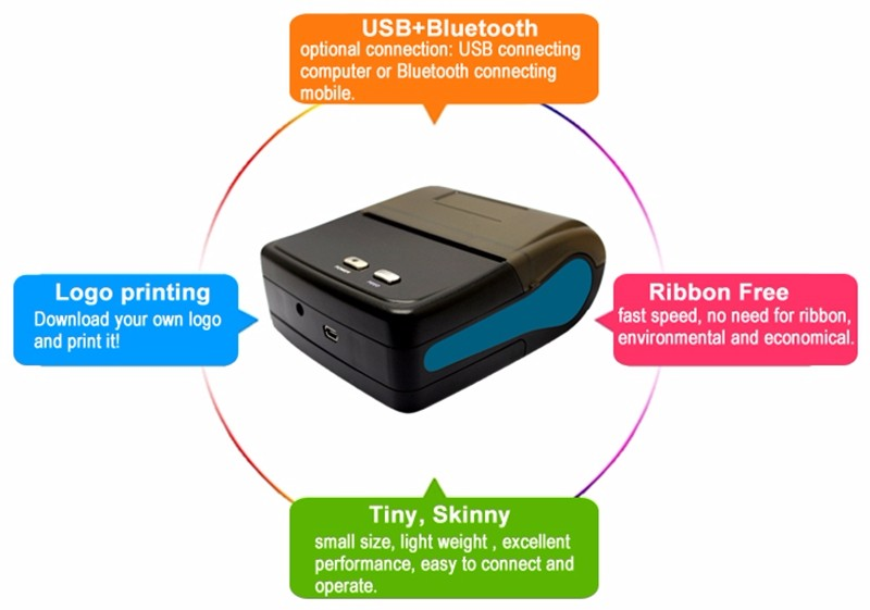 80mm Portable Bluetooth Mobile Thermal Printer With Bluetooth SDK IMP011