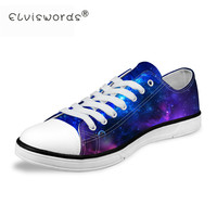 ELVISWORDS Blue Galaxy Women Canvas Shoes Sky Night Star Printed Casual Low Top Flats For Female