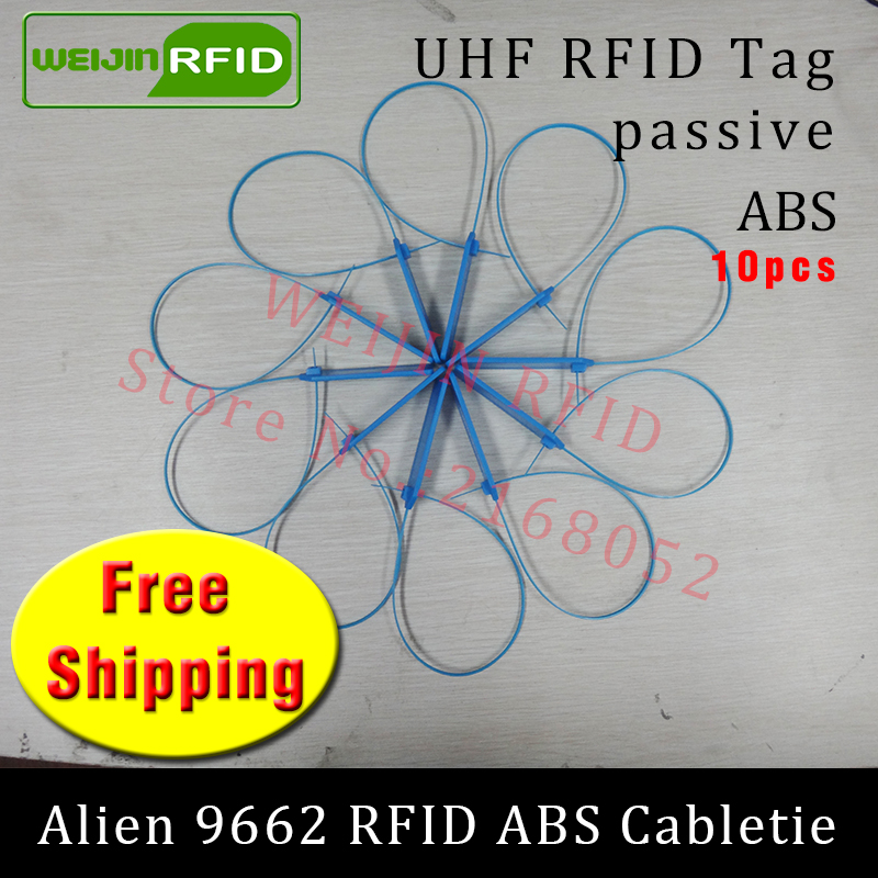 UHF RFID tag ABS cable tie Alien 9662 EPC6C 915mhz 868mhz 860-960M Higgs3 10pcs free shipping long range smart passive RFID tags 860 960mhz long range passive rfid uhf rfid tag for logistic management