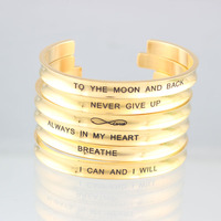 7mm Gold Bar Bangle Bracelet Custom Stainless Steel Bracelet Personalize Engrave Inspritional Mantra Hair Tie Bracelet