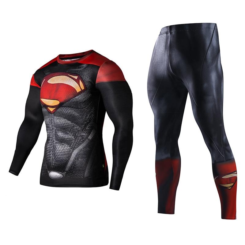 Men Fitness Running Sets Clothing Superman Tracksuit Set Superman Captain America Sportswear Sets 3D Print Full Compression Sets